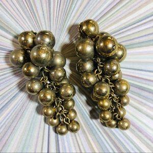 Vintage golden grape cluster dangle bead earrings